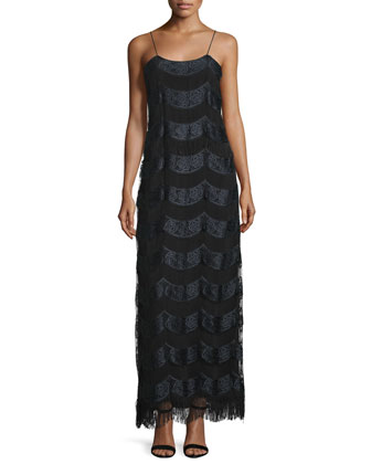 Stevie Sleeveless Embroidered Gown, Black