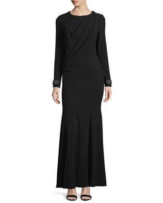 Colette Embellished-Cuff Pleated Gown, Onyx