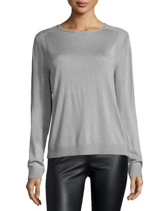 Long-Sleeve Sheer-Inset Sweater, Mist