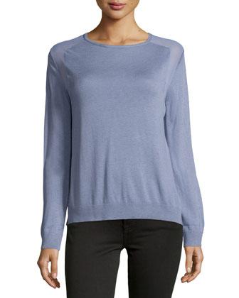 Long-Sleeve Sheer-Inset Sweater, Lavender