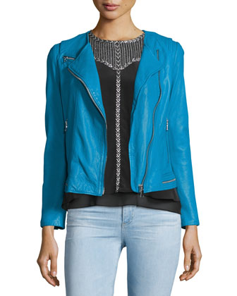 Lamb Leather Zip-Trim Moto Jacket, Lagoon