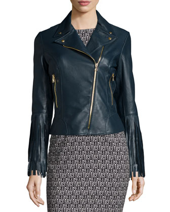 Willo Leather Moto Jacket with Fringe Cuffs