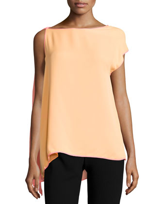 Asymmetric-Sleeve Two-Tone Top, Nectar/Bright Guava