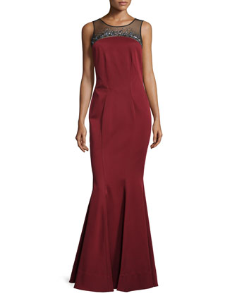 Simone Illusion Strapless Gown, Garnet