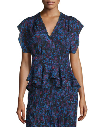 Bouquet Rhapsody Silk-Blend Top, Blue