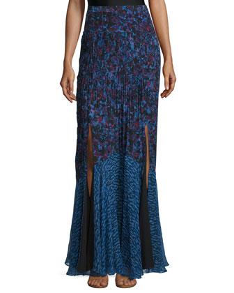Bouquet Rhapsody Silk-Blend Top, Blue