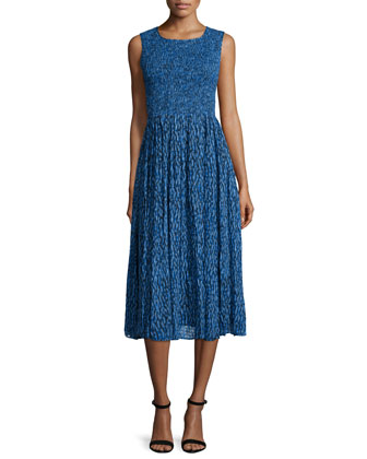 Sleeveless Mirage Ruched Midi Dress, Blue