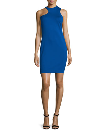 Sleeveless Jewel-Neck Cocktail Dress, Bright Indigo
