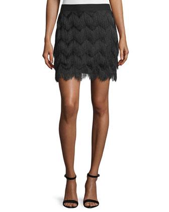 Mid-Rise Fringe Skirt