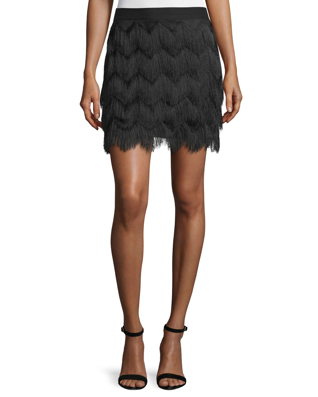 Mid-Rise Fringe Skirt, Size: 0, Champagne - Ella Moss