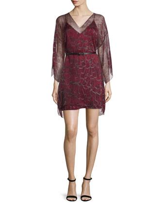 3/4-Sleeve Kimono-Style Belted Caftan, Crimson Feather