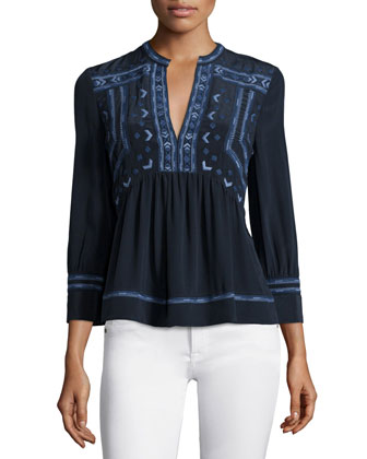 Long-Sleeve Embroidered Top, Navy