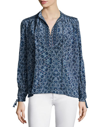 Long-Sleeve Paisley Silk Top, Blue Smoke