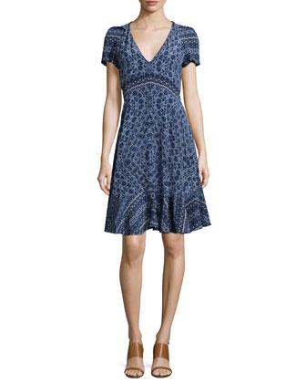 Short-Sleeve Paisley A-Line Dress, Blue Smoke