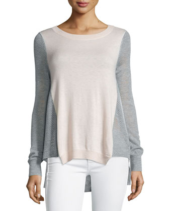 Textured-Block-Trim Combo Sweater, Vanilla/Gray