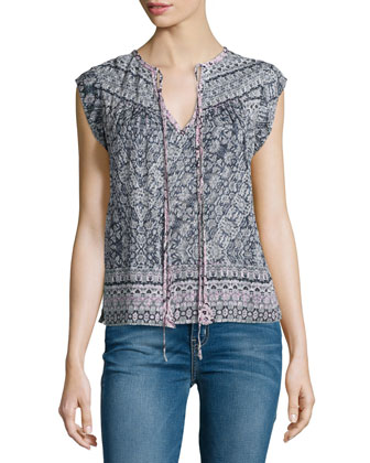 Cap-Sleeve Paisley Silk-Blend Top, Pink Orchid