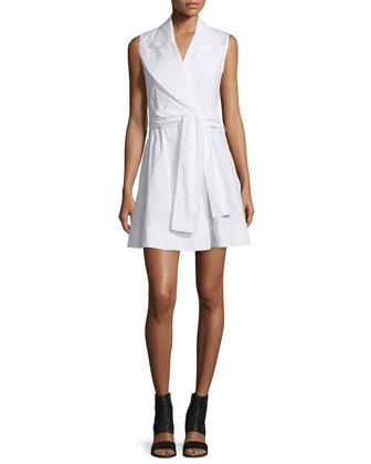 Sleeveless Cotton Poplin Wrap Dress, White
