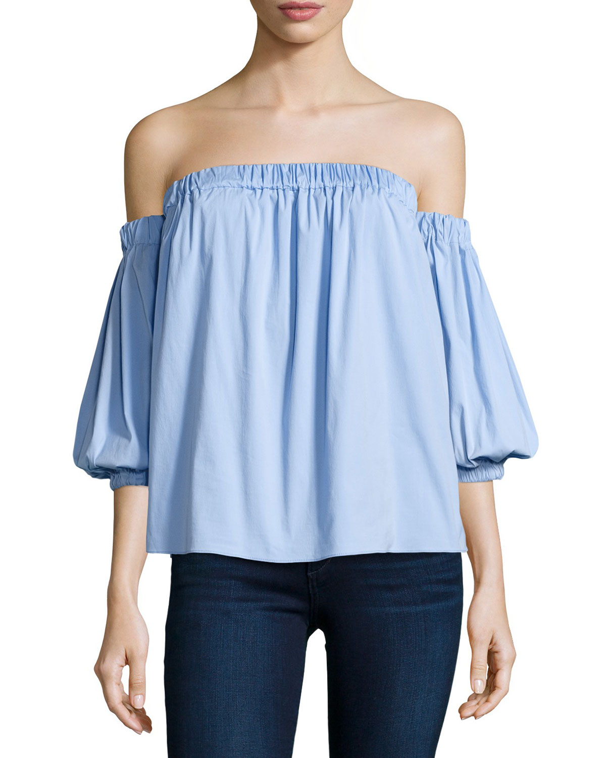 Off-the-Shoulder Stretch-Cotton Blouse, Sky (Blue), Size: L - Milly
