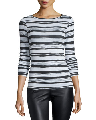 Wylie Long-Sleeve Striped Top, Ecru Combo