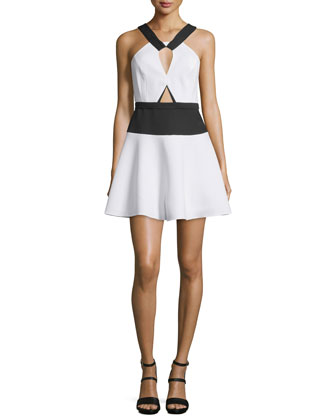 Kerilynn Sleeveless Keyhole Mini Dress, White/Black