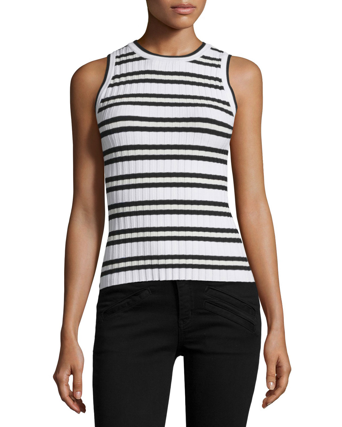 Sleeveless Neutral Striped Tank, Size: L, Multi Colors - Milly