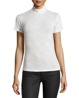 Short-Sleeve Turtleneck Top, Light Bone