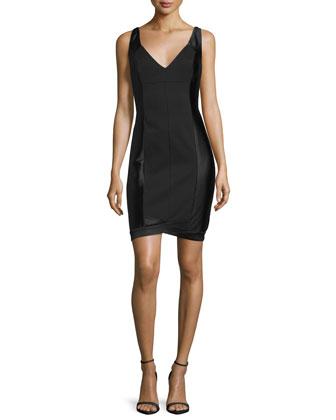 Sleeveless V-Neck Cocktail Dress, Black