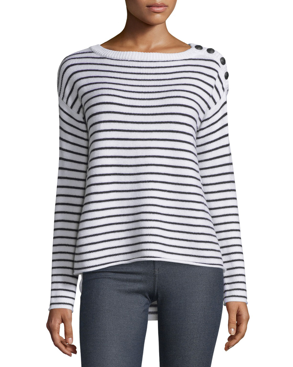 Striped Wool Sailor Sweater, Black/White, Size: M, Black/Wht Stripe - ATM