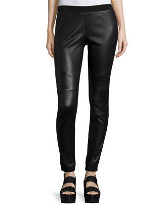 Stretch Leather Track Pants, Black