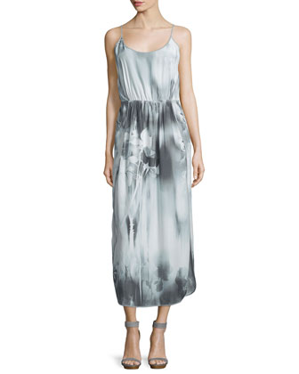 Sleeveless Floral-Print Midi Dress, Gray/White