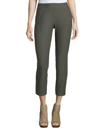 Washable Stretch-Crepe Ankle Pants, Oregano