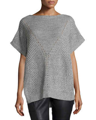 Short-Sleeve Knit Poncho Sweater, Heather/Light Heather Gray