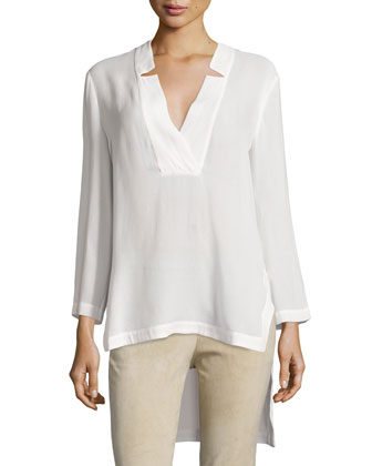 Notched V Neck High-Low Tunic Top, Linen White