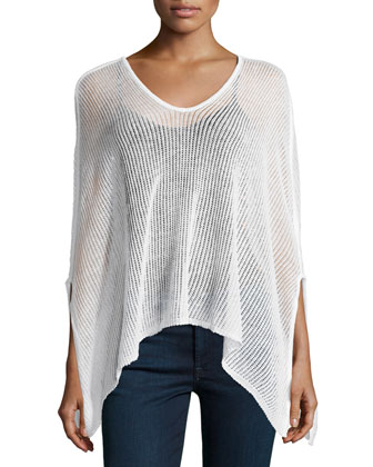 V-Neck Sheer Poncho, Linen White