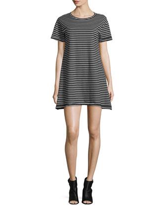 Short-Sleeve Striped T-Shirt Dress, Black/Multi
