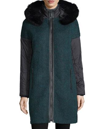 Everly Fur-Trim Zip-Front Coat, Winter Sol