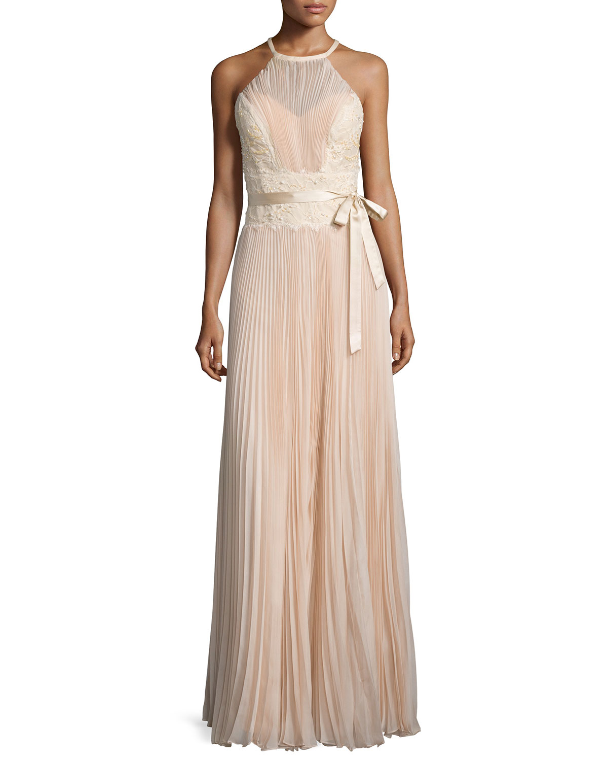 Sleeveless Lace-Inset Plisse Gown, Alabaster, Size: 4 - MIGNON