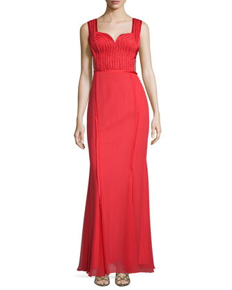 Sweetheart-Neck Embellished Gown, Red