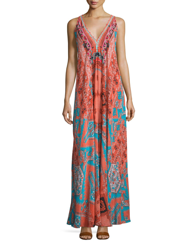 Sleeveless V-Neck Rug-Print Maxi Dress, Orange, Size: L - Hemant and Nandita
