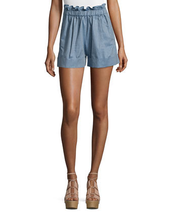 Paper-Bag-Waist Striped Shorts, Denim