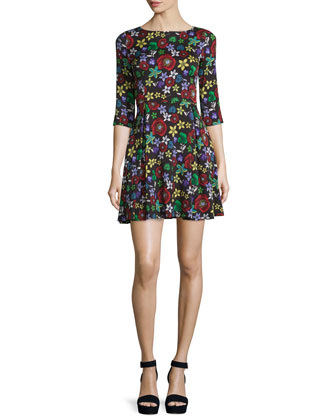 Floral Collage Fit-and-Flare Mini Dress