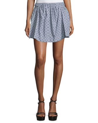 Dot-Print Mini Skirt, Gray/Multi