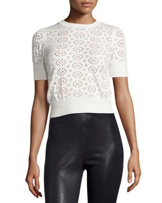 Half-Sleeve Perforated Sweater, Ivory