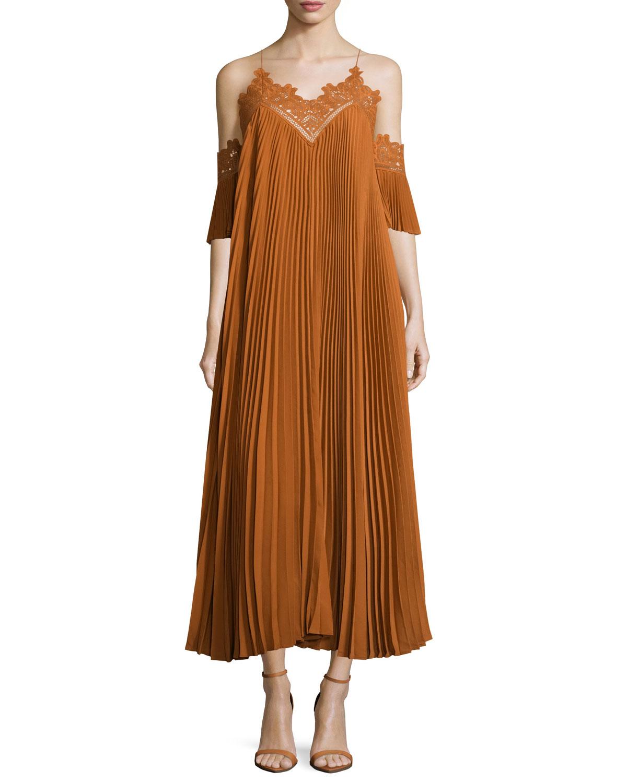 Pleated Chiffon Lace-Trim Midi Dress, Camel, Size: 0 - Self Portrait