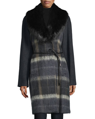 Faux-Fur Collar Belted Coat, Deep Charcoal