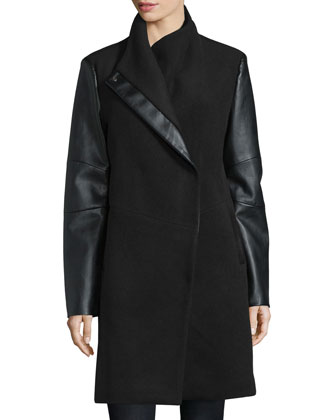 Wool Coat with Faux-Leather Detail