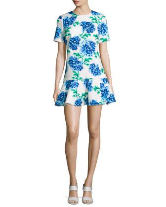 Short-Sleeve Floral Flounce-Hem Dress, Ivory