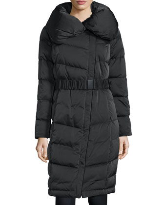 Long-Sleeve Belted Puffer Coat, Black