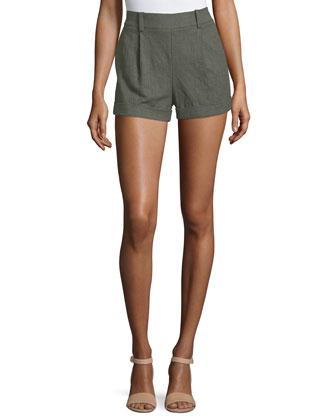 Gillian High-Rise Woven Shorts, Deep Lichen