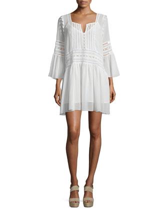 Creseda Bell-Sleeve Shift Dress w/ Lace, Vanilla